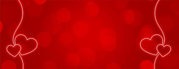 Conception de bannière rouge avec décoration de coeurs néon