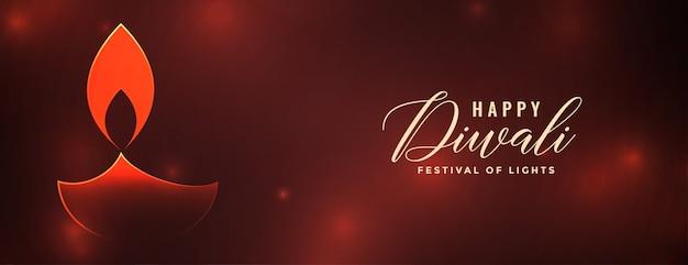 Conception de bannière rouge joyeux diwali diya brillant