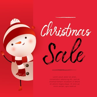 Conception de bannière rouge de vente de noël avec bonhomme de neige mignon et exemple de texte