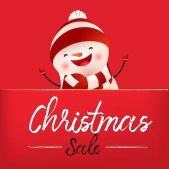 Conception de bannière rouge vente de noël avec bonhomme de neige qui rit