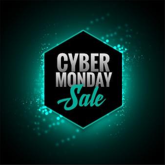 Conception de bannière rougeoyante de vente attrayante cyber lundi