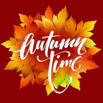 Conception de bannière saisonnière de temps d'automne. feuille d'automne. illustration vectorielle eps10