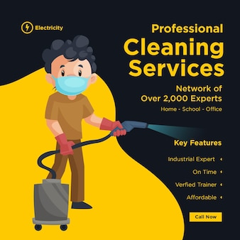 Conception de bannière de services de nettoyage professionnel avec homme de nettoyage portant un masque chirurgical