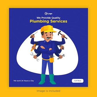 Conception de bannière de services de plomberie pour les médias sociaux avec plombier