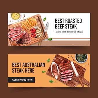 Conception de bannière de steak avec des frites, illustration aquarelle de viande grillée.