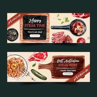 Conception de bannière de steak avec de la viande grillée, illustration aquarelle de spaghetti.