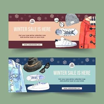 Conception de bannière de style hiver avec chapeau en laine, veste en jean, illustration aquarelle de baskets.