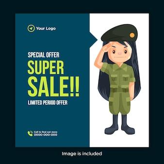 Conception de bannière de super vente offre spéciale avec une femme soldat donnant un salut