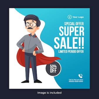 Conception de bannière de super vente offre spéciale avec un homme portant une cape de super-héros