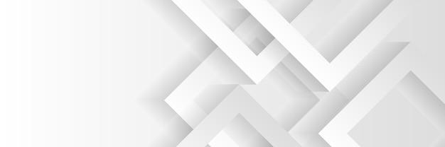 Conception de bannière de technologie géométrique abstraite avec des flèches blanches et grises.