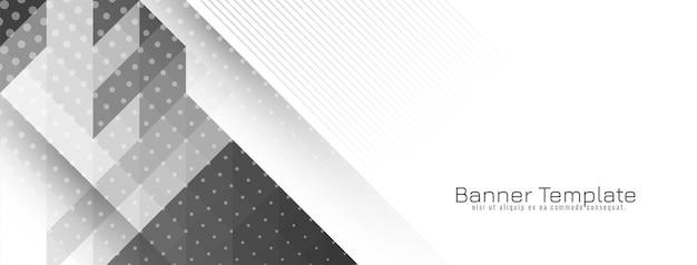 Conception de bannière tendance grise et blanche géométrique lumineuse