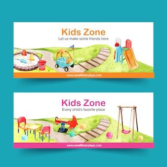 Conception de bannière de terrain de jeu avec balançoire, toboggan, illustration aquarelle bac à sable.