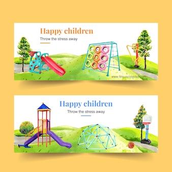 Conception de bannière de terrain de jeu avec toboggan, illustration aquarelle de cadre d'escalade.