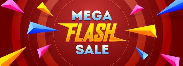 Conception de bannière ou en-tête de vente flash mega
