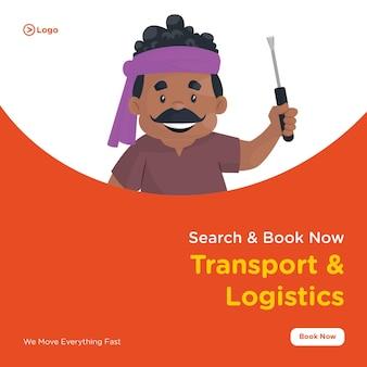 Conception de bannière de transport et de logistique avec chauffeur de camion tient un tournevis et un marteau à la main