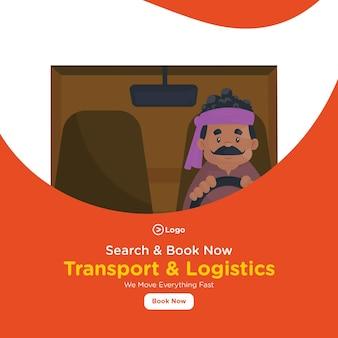 Conception de bannière de transport et de logistique avec l'homme conduit le camion