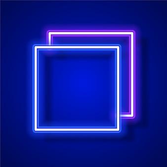Conception de bannière vecteur néon carré. conception de bannière de modèle bleu.