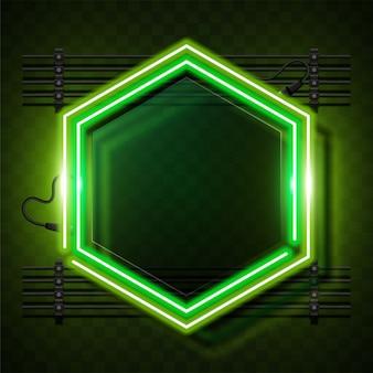 Conception de bannière de vecteur de néon moderne. modèle vert hexagonal.