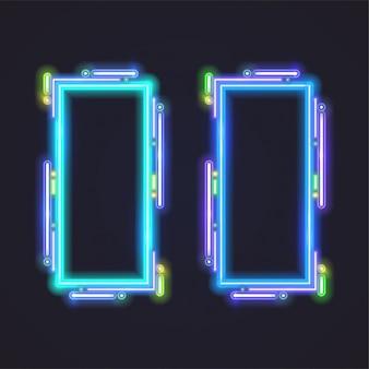 Conception de bannière de vecteur de néon rectangle. modèle bleu.