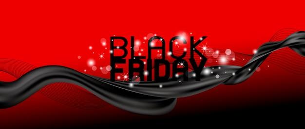 Conception de bannière de vendredi noir d'illustration vectorielle de tissu et d'onde de ligne
