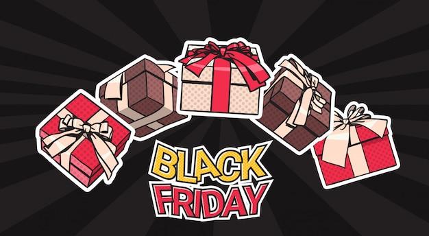 Conception de bannière vendredi noir avec des présents et des coffrets cadeaux sur fond affiche concept