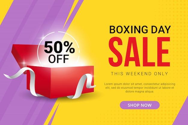 Conception de bannière de vente boxing day avec offre de réduction