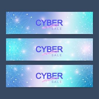 Conception de bannière de vente cyber monday. communication graphique abstrait. illustration vectorielle.