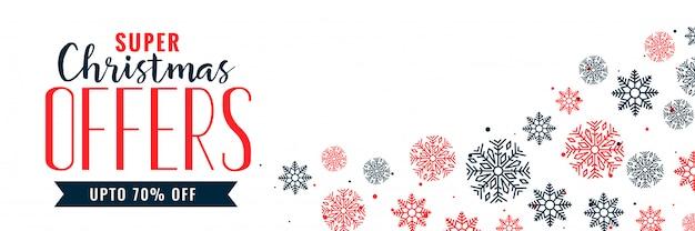 Conception de bannière de vente décoration flocons de neige de noël