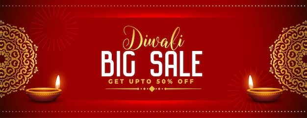 Conception de bannière de vente décorative mandala rouge diwali
