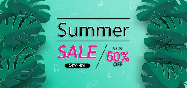 Conception de bannière de vente d'été et avec du papier découpé.