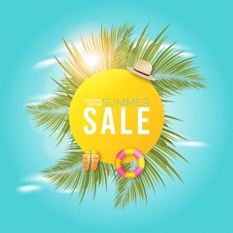 Conception de bannière de vente d'été avec palmier.