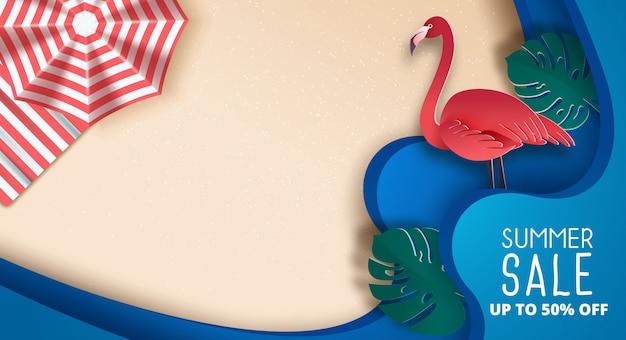 Conception de bannière de vente d'été avec papier découpé plage tropicale.