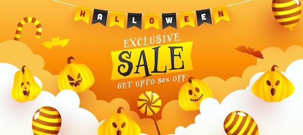 Conception de bannière de vente exclusive d'halloween avec une offre de réduction de 80%