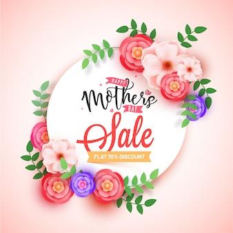 Conception de bannière vente fête des mères avec de belles fleurs et jusqu'à 70% de réduction sur les offres.
