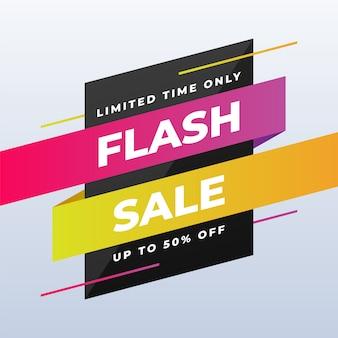 Conception de bannière de vente flash moderne sur blanc