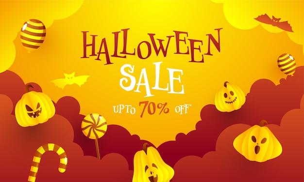 Conception de bannière de vente d'halloween avec une offre de réduction de 70%