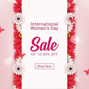 Conception De Bannière De Vente De La Journée Internationale De La Femme Vecteur Premium