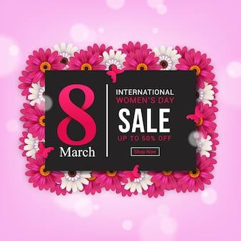 Conception de bannière de vente de la journée internationale de la femme