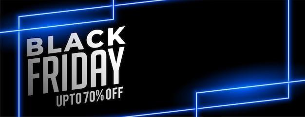 Conception de bannière de vente néon bleu vendredi noir