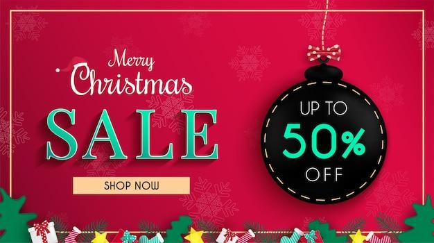 Conception de bannière de vente de noël et pour la promotion des achats en ligne et la bannière web