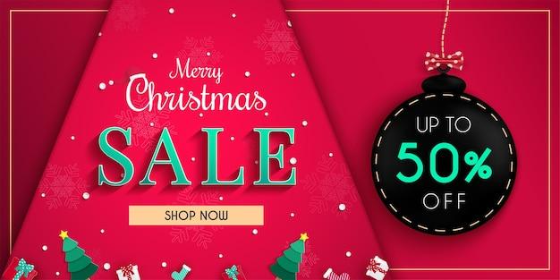 Conception de bannière de vente de noël et promotion de rabais sur les achats en ligne et bannière web