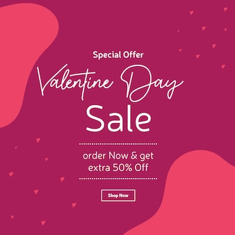 Conception de bannière de vente offre spéciale saint valentin