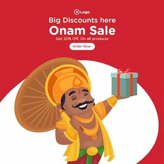 Conception de bannière de vente onam heureux indien du sud