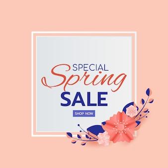 Conception de bannière de vente de printemps laisse et fleur.