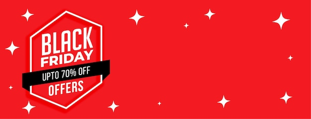 Conception de bannière de vente rouge étoiles vendredi noir