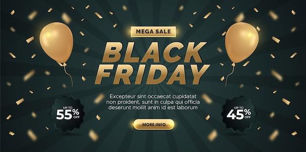 Conception de bannière de vente vendredi noir. fond sombre avec ballon d'or.