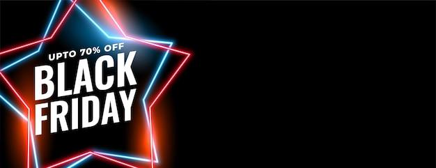 Conception de bannière de vente vendredi noir en forme d'étoile au néon