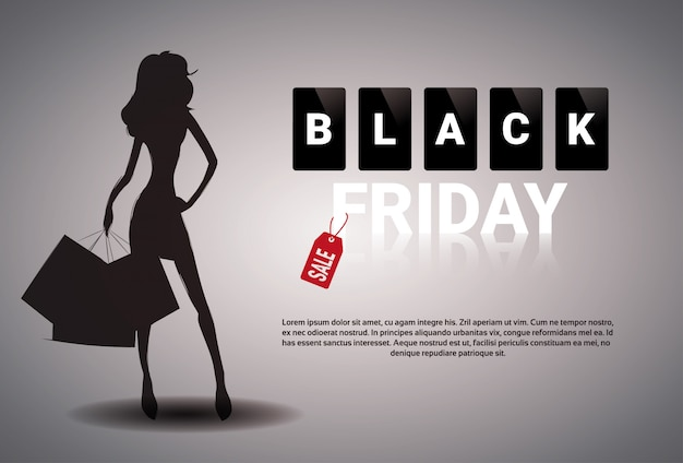 Conception de bannière de vente vendredi noir avec silhouette femme tenant des sacs à provisions