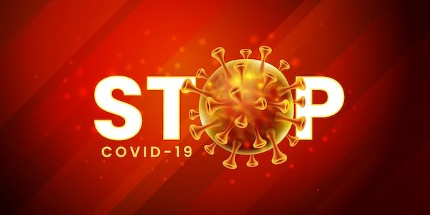 Conception de bannière de verrouillage pandémique mondial du virus corona covid-19