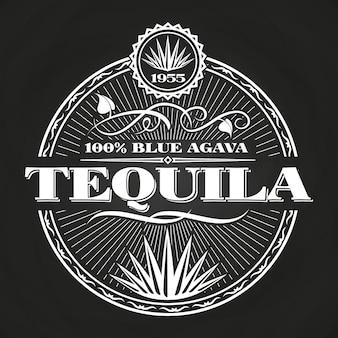 Conception de bannière vintage tequila sur tableau noir